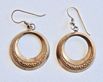 Bohemian Earrings Brass Dangle Hoops Vintage Ethnic Jewelry Dangle Earrings Hippie Mod Modern Embossed Brasstone Metal
