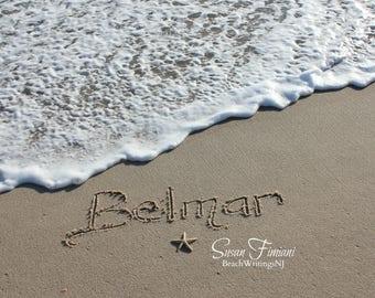 Belmar Beach Sand Beach Writing  Fine Art Photo Jersey Shore