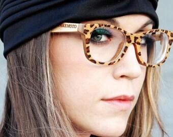 20% off SUMMER SALE Brown Leopard Takemoto  Handmade Bamboo  Sunglasses Glasses With Wood Box Mjx1055