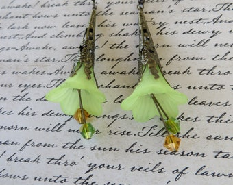 Frosted Green Lucite Flowers With Crystals Drop Earrings