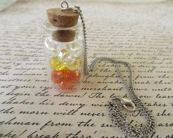 Jar of Candy Corn Crystals Apothecary Jar Necklace
