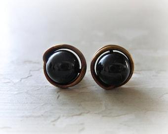 Brass Stud Earrings, Black Onyx Studs, Stone Stud Earrings, Patina Stud Earrings, Raw Brass Studs, Oxidized Stud Earrings, Black Earrings