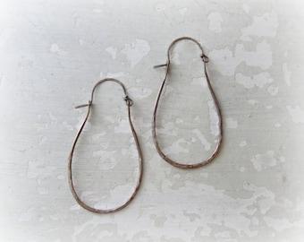 Hammered Brass Hoops, Brass Hoop Earrings, Patina Brass Earrings, Oxidized Hoop Earrings, Hammered Hoops, Dark Hoop Earring, Rustic Earrings