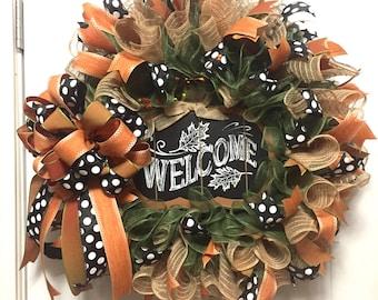 Fall Decor, Mesh Pumpkin Wreath, Welcome Entryway Decoration, Autumn Season Door Swag, Chalkboard Welcome Sign, Fall Wedding Gift, Wreath
