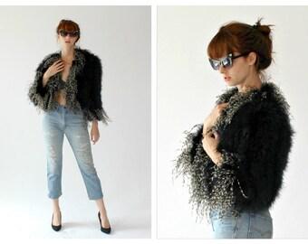 Vtg. Marabou Ostrich Feather Jacket- S/M, 70s, Disco, Fuzzy Glam Rock Jacket, Statement Vintage