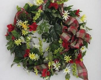 Summer Wreath, Country Daisy Wreath, Outdoor Wreath, Front Door Wreath, Summer Door Wreath, Seasonal Decor