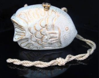 Timmy Woods of Beverly Hills Novelty Bag Fish Figural Clutch Acacia Wood Handmade Vintage