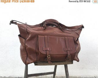 SALE 80s Large Duffle Overnight Weekender Distressed Brown Leather Buckled Tote Travel Bag