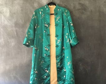 20% Off Sale Silk Brocade Mandarin Jacket Reversible Chinese Embroidered Satin Teal Gold Robe Duster Jacket Ladies Size M