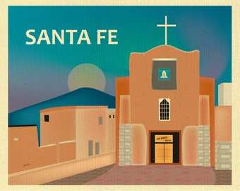 Santa Fe Skyline Print, Santa Fe New Mexico art, Southwest New Mexico, Santa Fe Art, New Mexico art, San Miguel Chapel - style E8-O-SANTA-FE