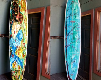 "Surf Art Proformance 9'0"" Longboard Surfboard Mermaid Dreams by Windy Spring made in Hawaii"