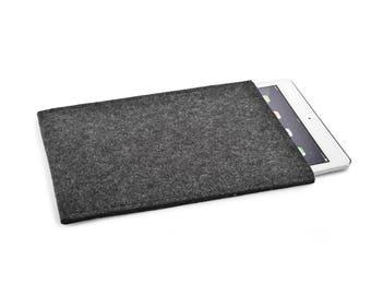 iPad Pro 10.5 case, iPad Pro case, iPad Pro 10.5 cover, iPad Pro 10.5 sleeve, iPad Pro 10.5 inch, wool felt Grey Charcoal - made in Germany