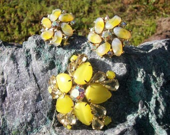 Rhinestones Vitrail Aurora Borealis AB Floral Teardrop Lemon Yellow Brooch Pin and Clip on Earrings or Dress Shoe Clips