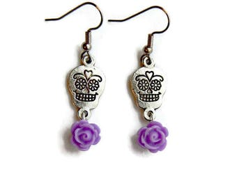 Sugar Skull and Purple Rose Earrings - Lavender and silver - Day of the Dead - Dia de los Muertos - Halloween - Rockabilly - Nickel Free