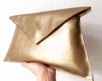 Gold Genuine Leather Clutch