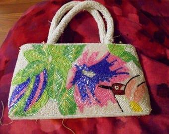BRIGHT BEADED 1980s PURSE handbag usable Bright Tropical scene Summery unique fun sead beads rare