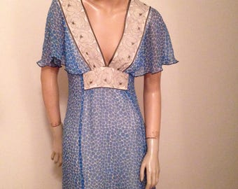 Anna Sui Blue Sheer Silk Day Dress S