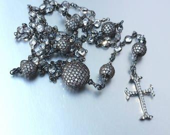 Blackened Sterling Silver Catholic Rosary