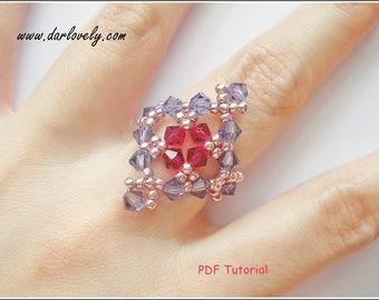 Beaded Tutorial Ring Pattern - Rose Lavender Ring (RG187) - Beading Jewelry PDF Tutorial (Digital Download)