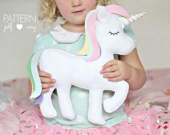 Unicorn Cushion Pattern, Unicorn Toy Pattern, Felt Unicorn Pattern, Unicorn Decor, Kawaii Unicorn, Unicorn Softie Plushie