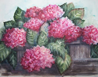 Original Watercolor Painting Pink Hydrangeas Nature Floral Flower Garden Art Signed with COA Reinecke