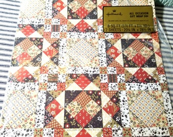 Vintage Patchwork Calico Quilt Print Gift Wrap New Old Stock Wrapping Paper NOS Hallmark Cards 1970s