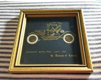 Yearly Big Sale: Vintage 1970s Steampunk Art, Ammon of London Chevrolet Royal Mail 1914, Framed John Ammon Original Collage