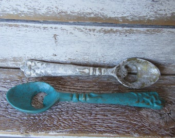 Spoon Bottle Opener Gold Pictured in Turquoise Blue and White Other Side Antique Custom Style Kitchen Bar Bottle Opener Tool H-10