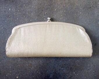 1960's gold metallic clutch. 60 evening bag. cocktail. rectangular.