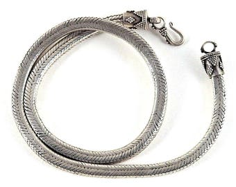 """Vintage Indian Snake Chain Necklace, 6mm, Genuine, Rajasthan, Heavy, Solid, High Grade Silver, Squared, Rope Chain, 121 Grams, 18"""" (46cm)"""