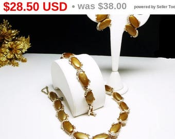 Golden Brown Parure with Clear Rhinestones & Lucite or Thermal Set Flat Oval Cabochons - Vintage 1950's Era Mad Men Jewelry