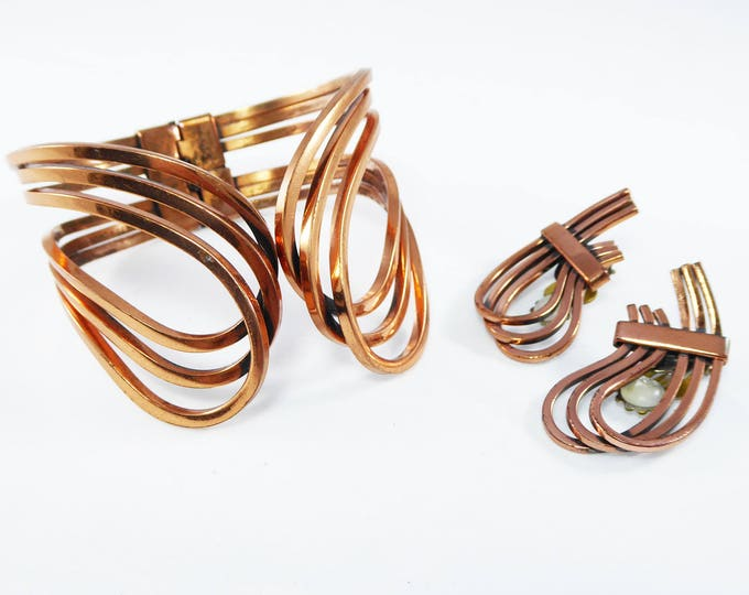 Signed Renoir Copper Bracelet and Earrings, Rhythm Design Clip on Earrings and Hinged Cuff, Mid Century Modern Vintage 1950's Era Jewelry