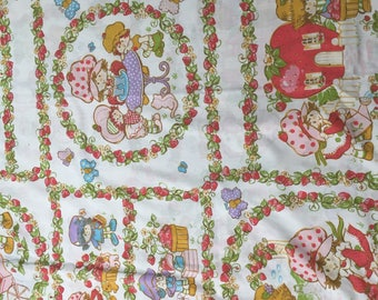 Vintage Strawberry Shortcake bedsheet and pillow case