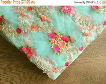 CIJ SALE aqua embroidered mesh - floral embroidery - fabric by the yard, light blue net fabric, aqua embroidered fabric - HALF Yard - emb009