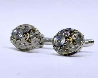 Cufflinks with Watch movements and a cufflinks giftbox 186