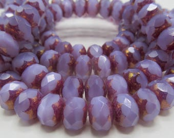 25 Czech Glass Fire Polish  Roundel Glass Beads in Translucent Lavender Opal with a touch of Gold/Copper Accent 9x6mm