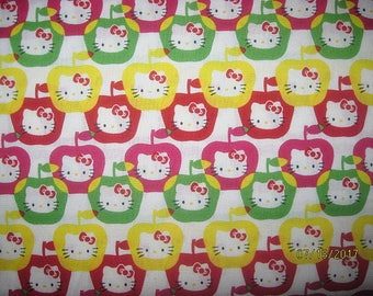 Hello Kitty fabric, Cotton Fabric, hello kitty, 1 yard, apples, apple fabric, red, pink, yellow, green,