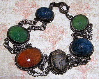 Sterling Silver Carved Stone Scarab Bracelet, Side Ways Set Stones, Egyptian Revival, Art Deco Era, Carnelian, Chrysoprase, Chalcedony 817