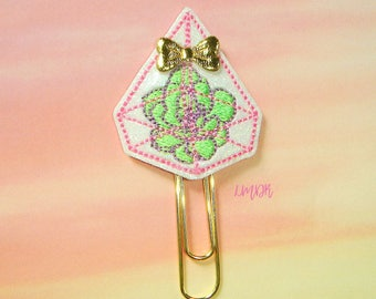 Succulent Glitter Paperclip Planner Clip in pastel