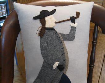 Colonial Man Wool Applique Pillow