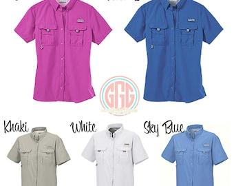 Women's Columbia PFG Swim cover up short sleeve, monogram PFG Fishing Shirt, Columbia Bahama II Shirt Swim Cover Up, bridal party cover up