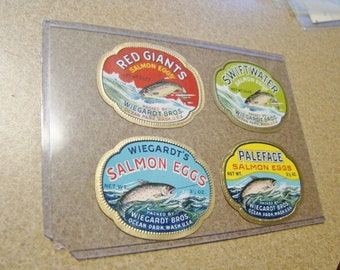 4 Vintage Salmon Eggs Labels Wiegardt Bros Washington Unused Great Graphics