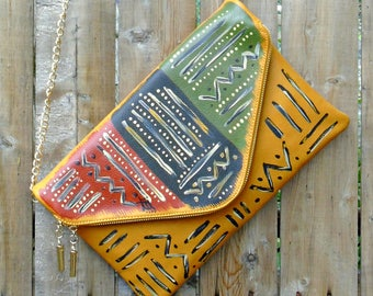 "ON SALE: Tribal Immunity Hand Painted Vegan Leather Yellow Lion ""Vital"" 2-in-1 Envelope Clutch Crossbody Handbag"