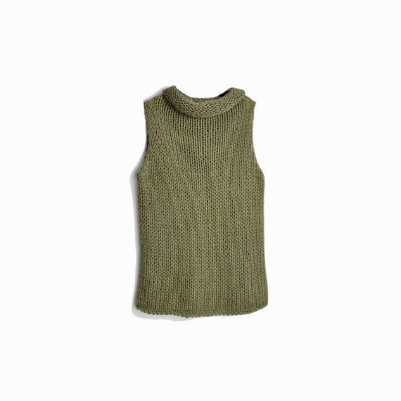 Vintage 90s Chunky Knit Sleeveless Top in Army Green / Rolled Neck Top - women's large