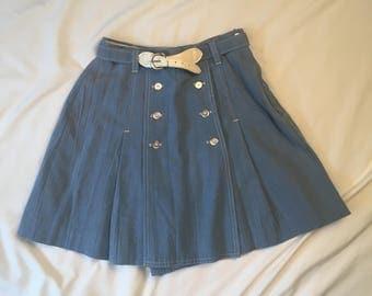 Gator of Florida vintage high waist tennis skirt 70s skorts Denim Blue skorts culottes