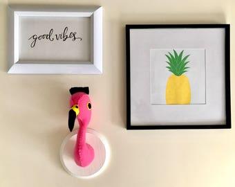 Felt Taxidermy | Nursery Decor | Baby Shower | Trophy Head | Girl Gift | Felt Flamingo