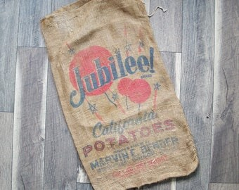 "Vintage California ""Jubilee!"" Potato Sack, Gunney Sack, Burlap Bag"
