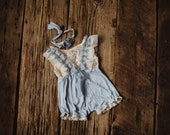 Powder blue and lace romper set.  Sitter.