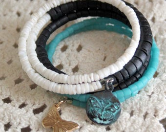White Aqua and Black Heishi Wrist Wrap Cuff Bracelet with Enamel Butterfly