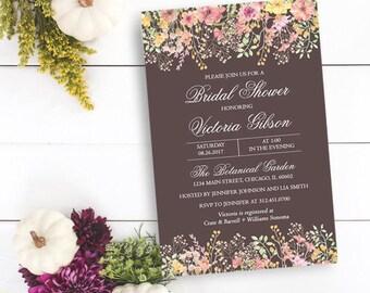 Spring Flowers Bridal Shower Invitation, Flower Garden Bridal Shower Invitation, Personalized, Printable or Printed